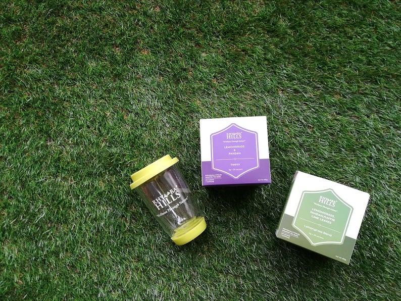 Calming set: Lemongrass blend, Reelax and Doublewall glass mug